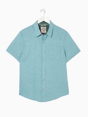 Fat Face Bugle Linen Cotton Short Sleeve Shirt - Mint