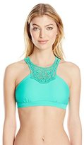 Jessica Simpson Women's Flower Power Crochet High-Neck Bikini Top