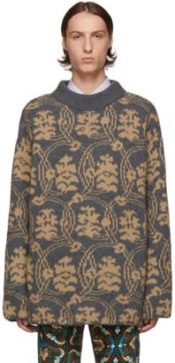 Dries Van Noten Grey and Tan Jacquard Sweater