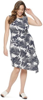 Dana Buchman Plus Size Print Sleeveless Asymmetrical Dress