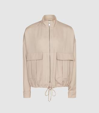 Reiss Immie Jacket - Satin Bomber Jacket in Pale Pink