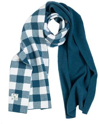 Woolish Lara Checked Merino Scarf In Blue White