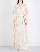 Oscar de la Renta Metallic-embroidered silk-chiffon kaftan