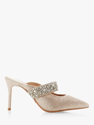 Dune Deserve Fabric Mid Stiletto Heel Court Shoes, Gold