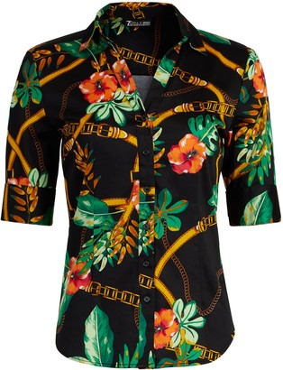 New York & Co. Tall Tropical-Print Madison Stretch Shirt - Secret Snap - 7th Avenue