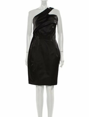 J. Mendel One-Shoulder Knee-Length Dress Black