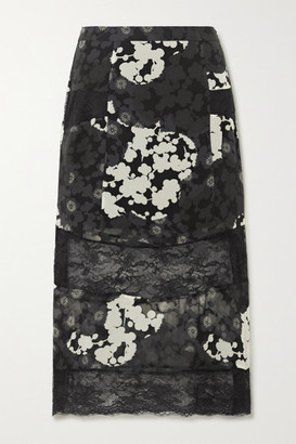 McQ Paneled Floral-print Silk-chiffon And Lace Midi Skirt - Black