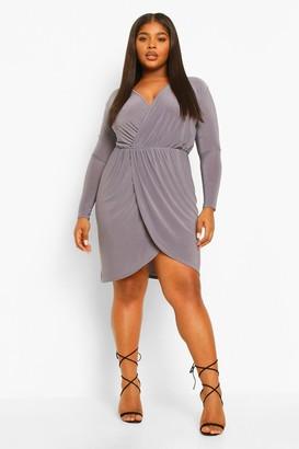 boohoo Plus Slinky Wrap Front Dress