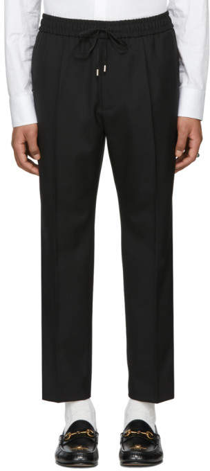 Gucci Black Plain Military Wool Trousers