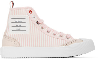 Thom Browne Pink and White Striped Brogued High-Top Sneakers