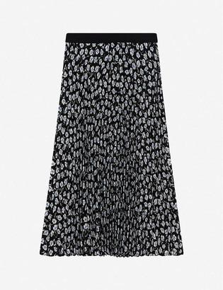Claudie Pierlot Floral-print high-waist pleated crepe midi skirt