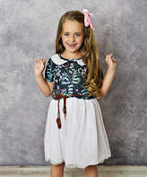 Adorable Sweetness Girls' Casual Dresses Navy - Navy Blue & White Floral Tulle-Skirt A-Line Dress - Girls