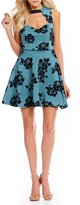 Jodi Kristopher Flocked Floral Fit-And-Flare Dress