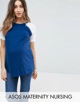 Asos Maternity - Nursing Asos Maternity Nursing Colour Block T-Shirt With Zip Detail