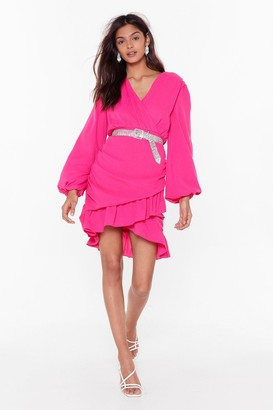 Nasty Gal Womens Party Wrap Mini Dress with Ruffle Detailing - Hot Pink