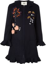 Fendi fur floral appliqué coat