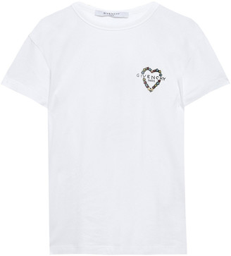 Givenchy Embellished Cotton-jersey T-shirt