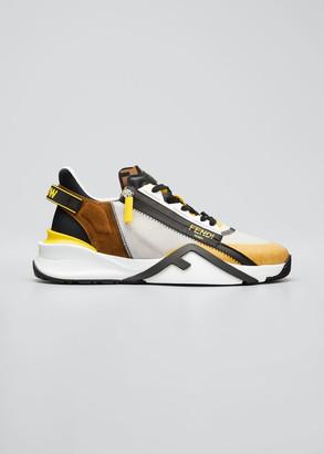 Fendi Men's Mix-Media Zip Runner Sneakers