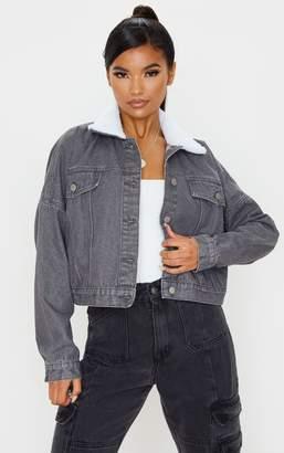 PrettyLittleThing Washed Grey Borg Collar Denim Jacket