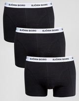 Bjorn Borg 3 Pack Trunks Black with Color Contrast Waist Band