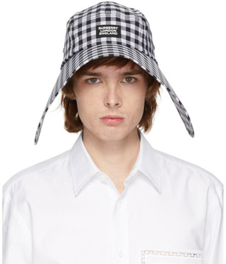 Burberry Black and White Gingham Bonnet Hat