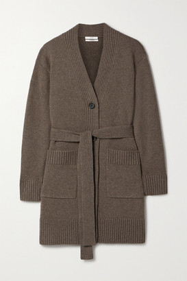 Co Belted Wool And Cashmere-blend Cardigan - Chocolate
