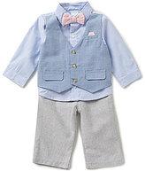 Edgehill Collection Baby Boys Newborn-6 Months Faux-Vest Woven Shirt & Pants Set