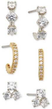 Eliot Danori Two-Tone 3-Pc. Set Cubic Zirconia Stud and Hoop Earrings, Created for Macy's