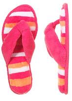 Dearfoams Paradise Pink Microfiber Terry Striped Flip-Flops