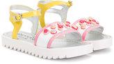 Simonetta appliqué detail sandals - kids - Goat Skin/Patent Leather/plastic/rubber - 24