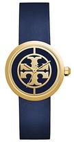 Tory Burch Reva Watch, Navy Leather/Gold-Tone, 36 Mm