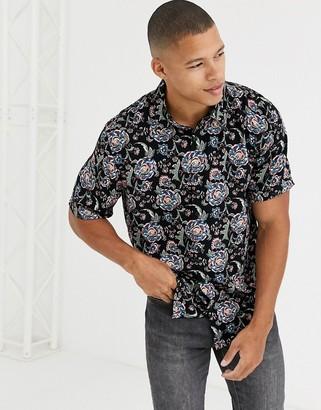 Burton Menswear shirt with black floral print