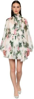 Dolce & Gabbana Printed Chiffon Sheer Mini Dress