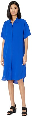 Eileen Fisher Classic Collar Shirtdress (Royal) Women's Dress