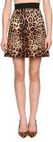 Dolce & Gabbana Jewel-Embellished Leopard-Print Shantung Skirt