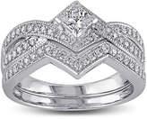 JCPenney MODERN BRIDE 5/8 CT. T.W. Diamond 14K White Gold V-Shaped Bridal Ring Set