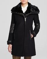 Andrew Marc Mara Fur Trim Mixed Media Coat