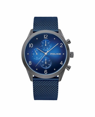 Police Men's Stainless Steel Quartz Watch with Textile Strap