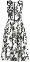 Lela Rose Pleated Printed Cotton-Poplin Dress