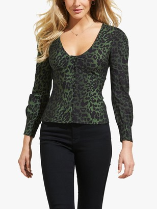 Sosandar Animal Print Blouse, Black/Green