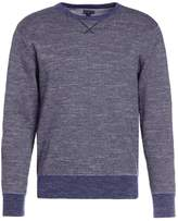 J.crew Textured Crewneck In Stripe Jumper Heather Navy