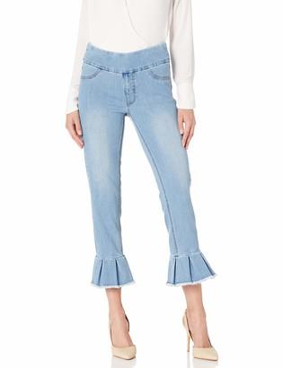 Slim Sation SLIM-SATION Women's Crop Jean with Pleat Flounce@ Leg Hem