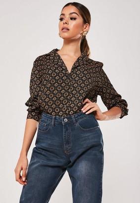 Missguided Black Tile Print Pyjama Style Shirt