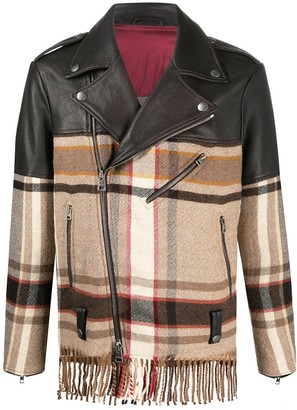 Etro Checked Panel Biker Jacket