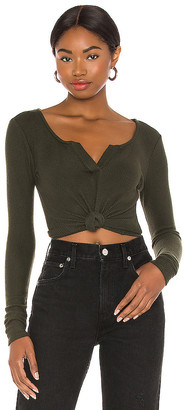 Privacy Please Split Neck Top