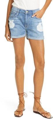 Frame Le Grand Garcon Distressed High Waist Denim Shorts