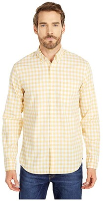 J.Crew Slim Stretch Secret Wash Shirt in Organic Cotton Gingham (Van Buren Gingham Yellow/White) Men's Clothing
