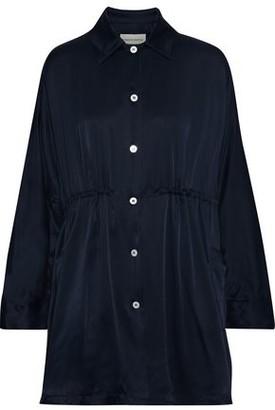Mansur Gavriel Gathered Silk-satin Mini Shirt Dress