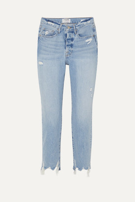 Frame Le Original Distressed High-rise Jeans - Light denim