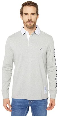 Nautica Rugby Knit Shirt (Grey Heather) Men's Clothing